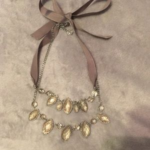 Silver and ribbon statement necklace